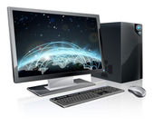 Desktop computer world globe — Stock Vector