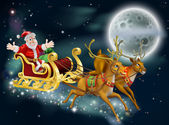 Santa and Sleigh — Vettoriale Stock