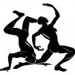Stylised dancers illustration - Image vectorielle
