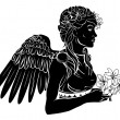 Stylised angel woman illustration - Stock Vector