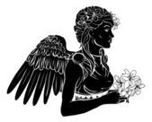 Stylised angel woman illustration — Stock Vector
