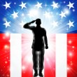 Stock Vector: US flag military armed forces soldier silhouette saluting