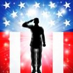 nosotros la bandera saludando a las fuerzas armadas militares soldado silueta — Vector de stock