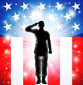 Bize askeri kuvvetlerinin asker siluet selamlayan bayrak — Stok Vektör