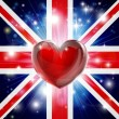 Love UK flag heart background — Stock Vector