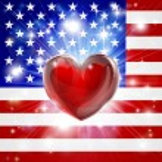 Love America flag heart background — Stock Vector