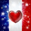 Stock Vector: Love France flag heart background