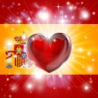 Stock Vector: Love Spain flag heart background
