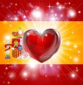 Love Spain flag heart background — Stock Vector
