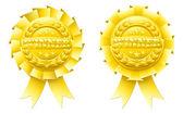 Gold winner rosettes — Stock Vector