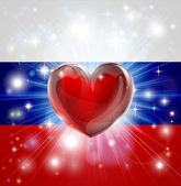 Love Russia flag heart background — Stock Vector