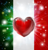 Love Italy flag heart background — Stock Vector