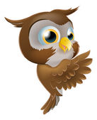 Pointing Cute Owl — Stock Vector