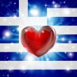 Stock Vector: Love Greece flag heart background