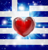 Love Greece flag heart background — Stock Vector