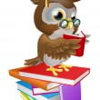 Wise owl reading — Stock Vector #19800493