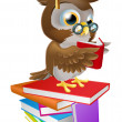 Wise owl reading — Stock Vector