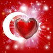 Stock Vector: Love Turkey flag heart background