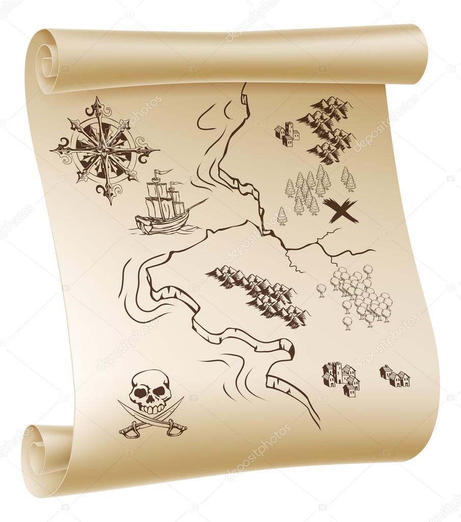 画的海盗宝藏地图