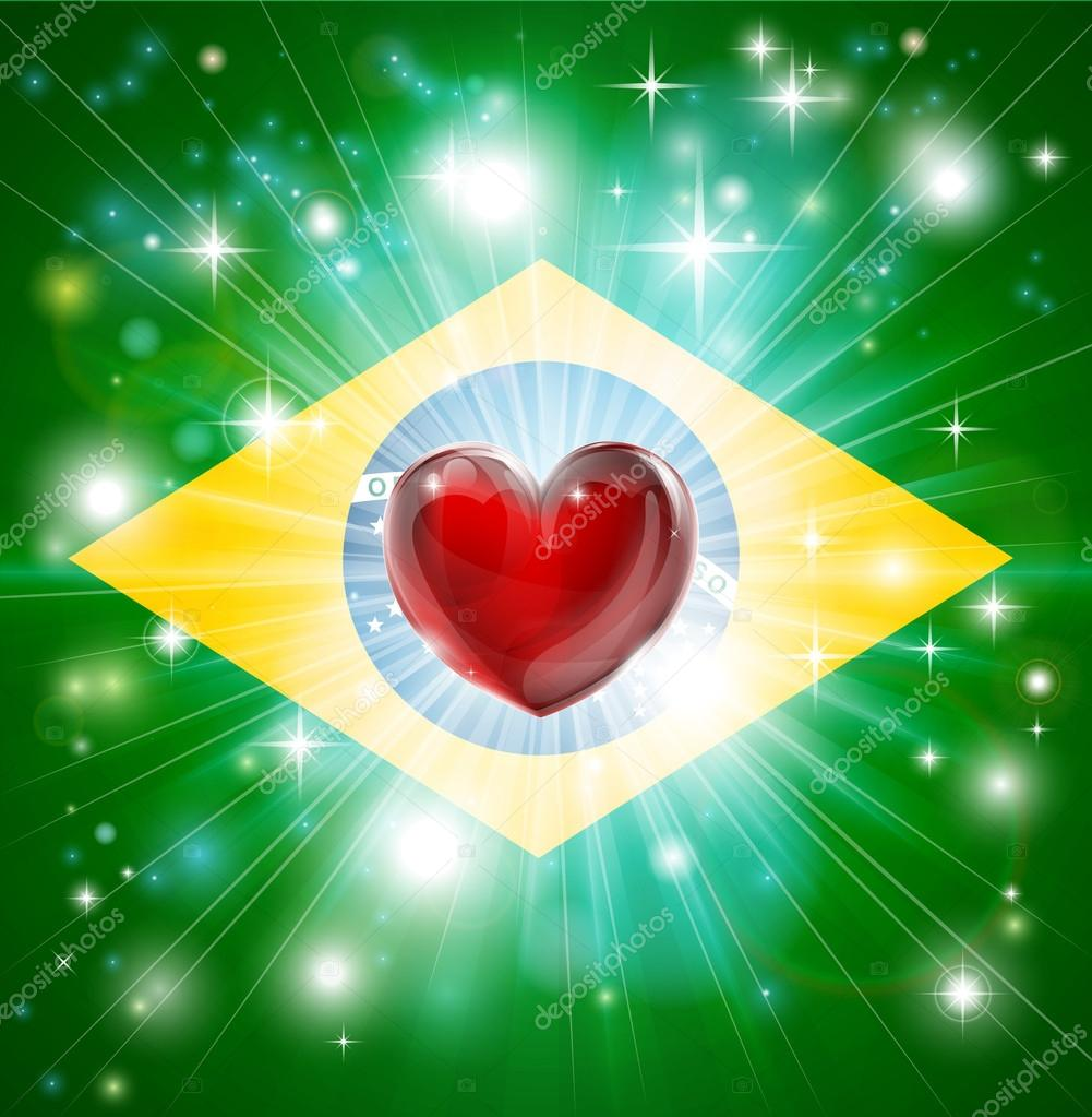 Flag of Brazil patriotic background with pyrotechnic or light burst and love heart in the centre — Stock Vector #20028677