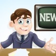 Stock Vector: News anchor man