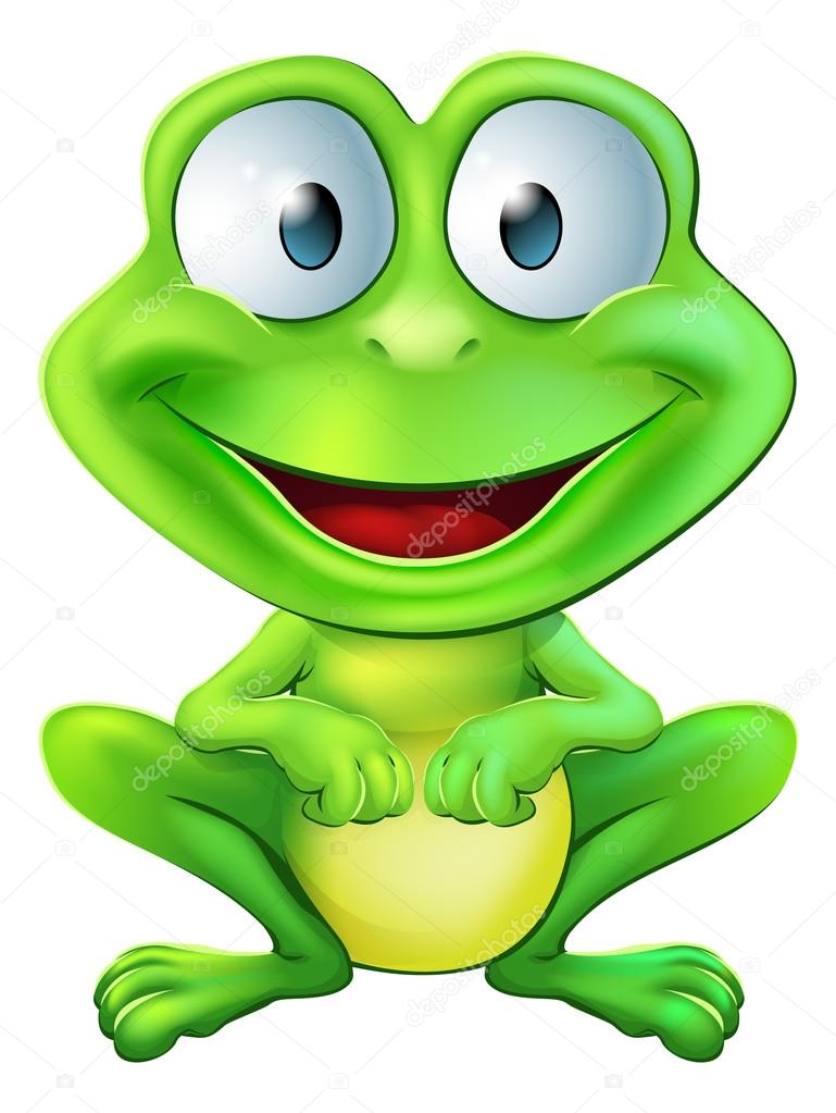 An illustration of a green cute frog character sitting and smiling  Stock Vector #21230465