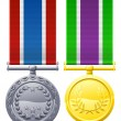 Military style medals — Stock Vector