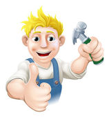 Cartoon carpenter or construction guy — Stock Vector
