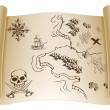 Old Treasure map on scroll — Stock Vector
