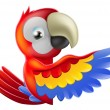 Red pointing cartoon parrot — Vettoriali Stock