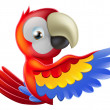 Red pointing cartoon parrot - Stock Vector