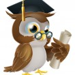 Owl with degree or qualification — Stock Vector