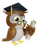 Owl with degree or qualification — Stockvektor