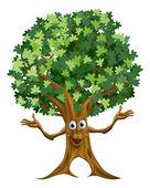 Tree character cartoon — Stock Vector