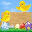 Stock Vector: Easter chicks and wooden sign