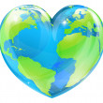 Heart world globe concept — Stock Vector