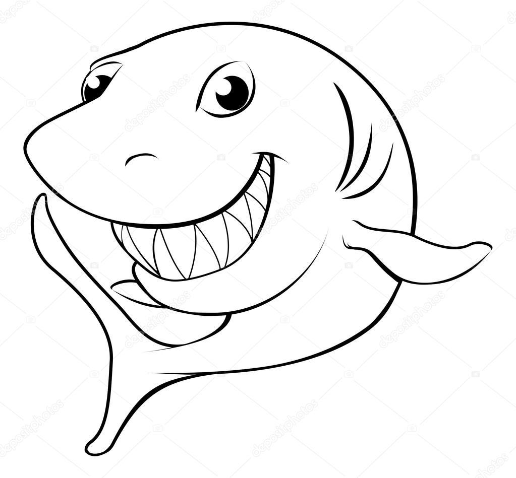 Cartoon shark black and white