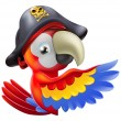 Parrot pirate pointing - Stock Vector