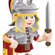 Roman Soldier with Sword — Stock Vector