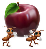 Ants carrying a big apple — Stock Vector