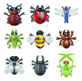 Iconos de insectos bug — Vector de stock