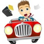 Businessman driving car fast — Stock Vector