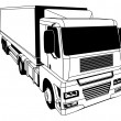 Stock Vector: Black and white semi truck