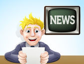 News reader cartoon — Stock Vector