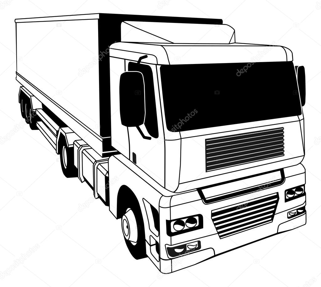 Semi Truck Outline of a Stylised Semi Truck