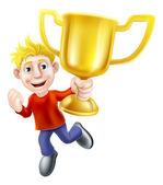 Cartoon man and winners trophy — Stock Vector
