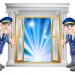 Stock Vector: VIP doormen and entrance door