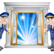 VIP doormen and entrance door — Stock Vector