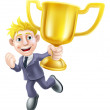 Business man winner and trophy — Stock Vector