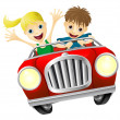 Stock Vector: Cartoon man and woman in car